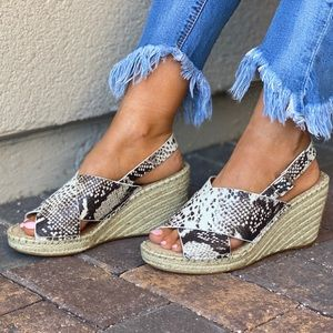 Genuine Leather Snake Print Espadrille Wedges